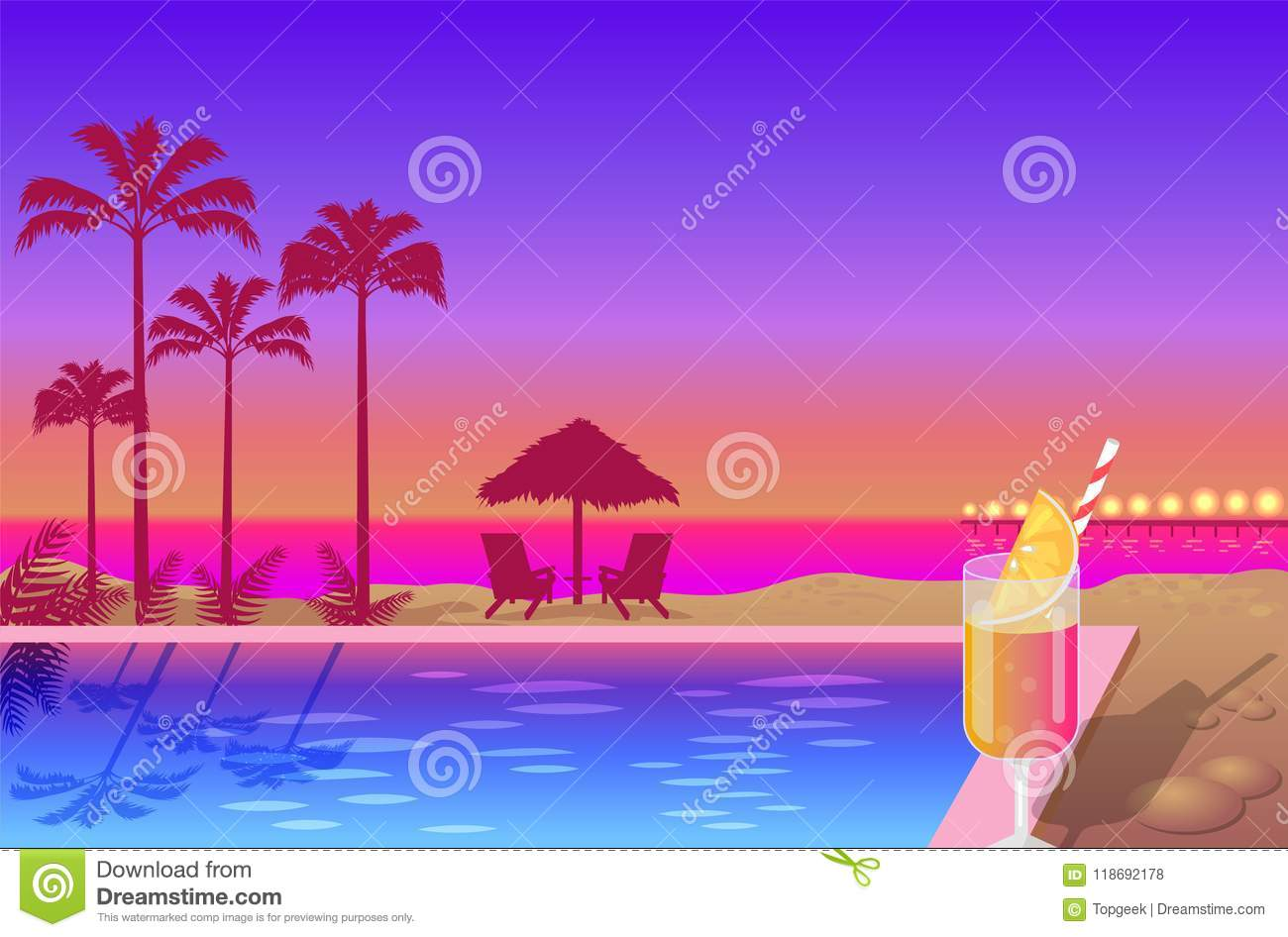 f0f809f5d56f Beautiful Summer Sunset On Cute Beach Color Banner Stock Vector ...