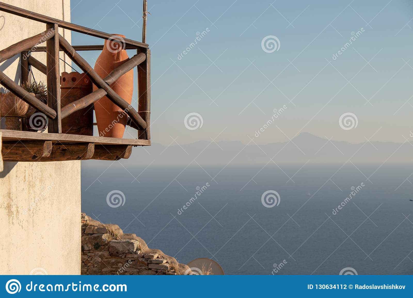 Beautiful Summer Terrace View of a Old Greek House at the Aegean Sea and the Sporades on the Greek Island of Alonissos, Ancient Gr