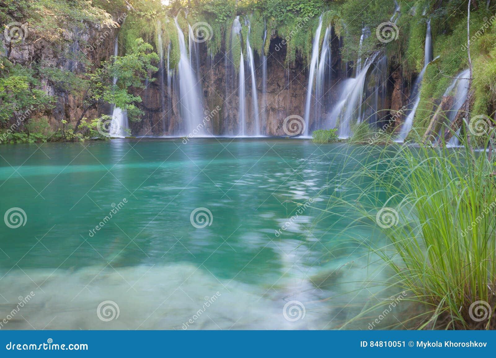 Download Beautiful Summer Waterfalls Stock Image - Image of croatia, plitvice: 84810051