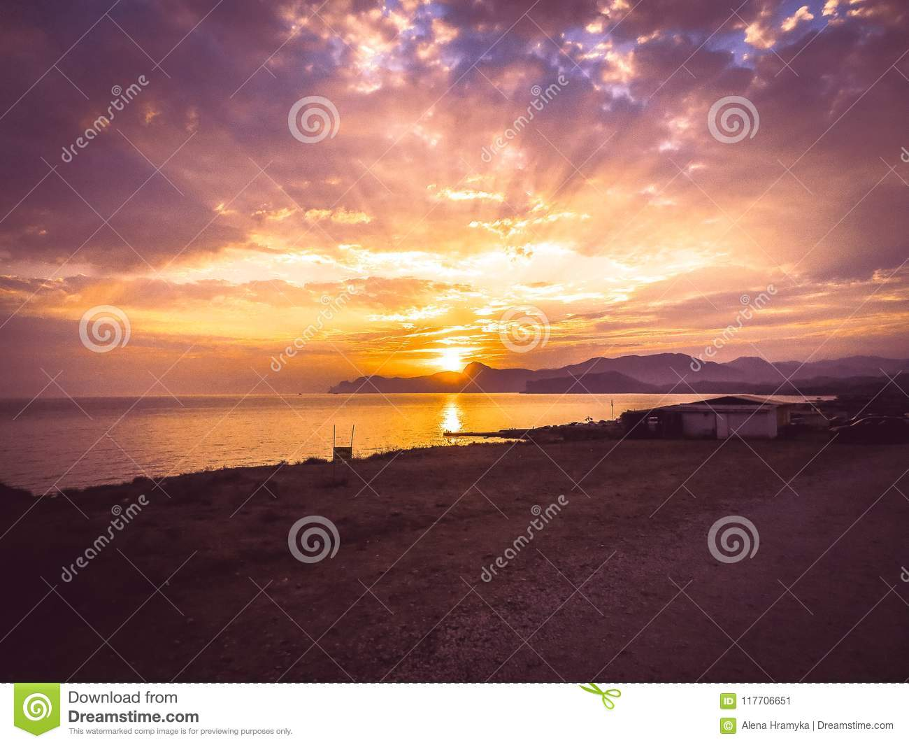Beautiful sun rays of sunset with colorful of sky background.