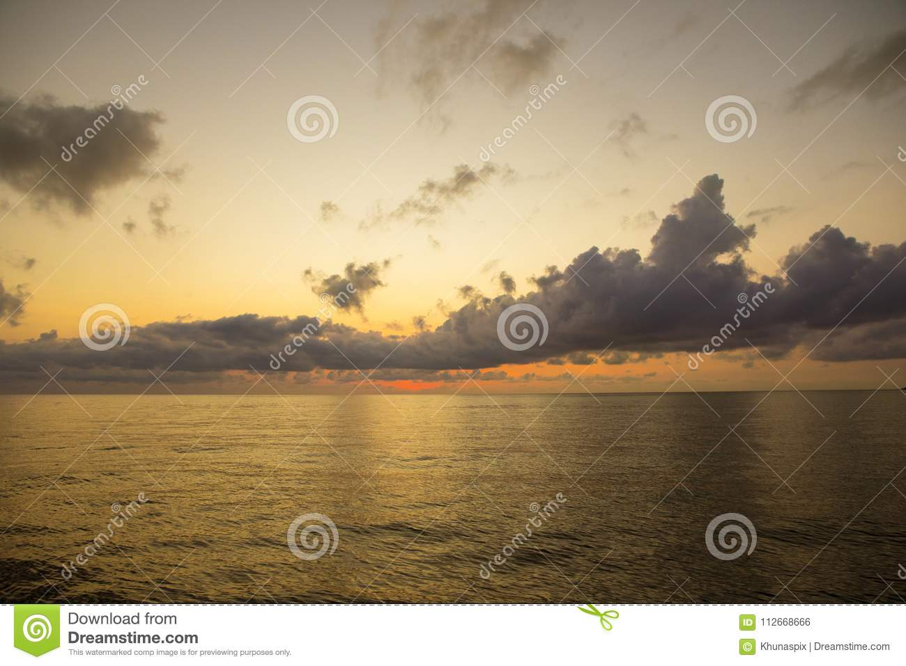 Beautiful Sun Rising Sky Over Plain Sea Harbor Stock Photo Image