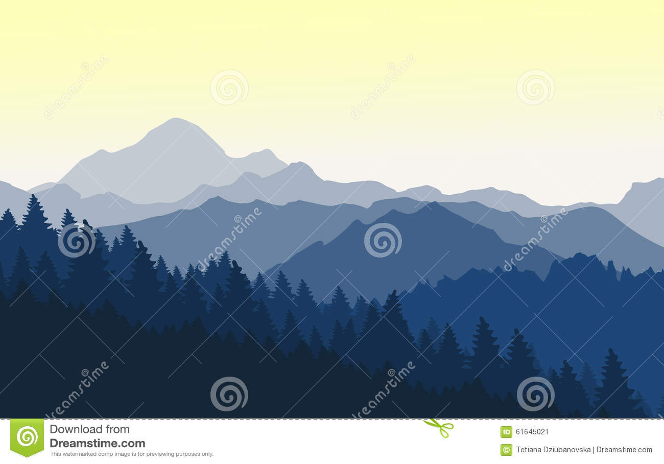 Beautiful Sunrise In The Blue Mountains Stock Vector Image 61645021