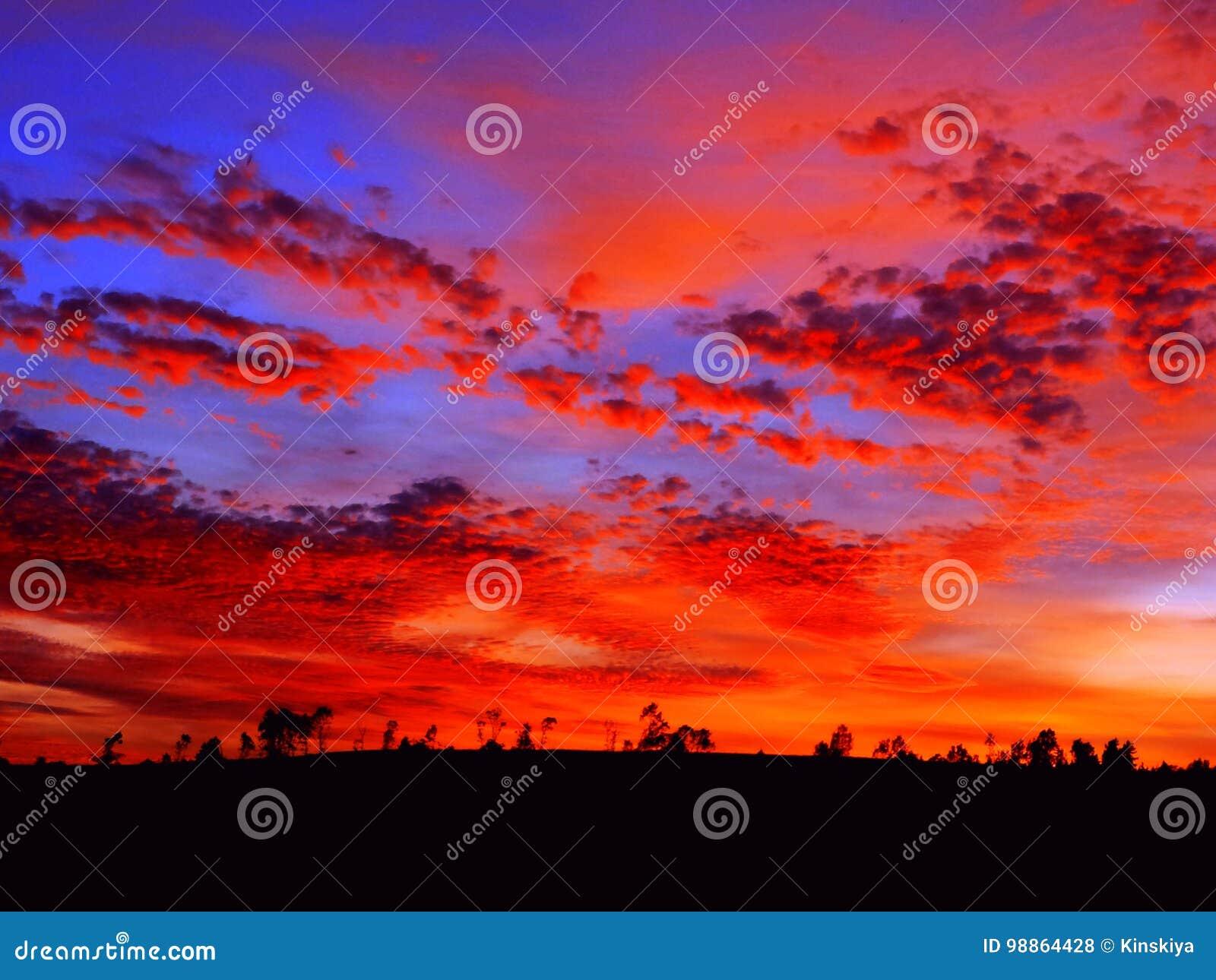 Beautiful sunrise. Bright orange sunset landscape