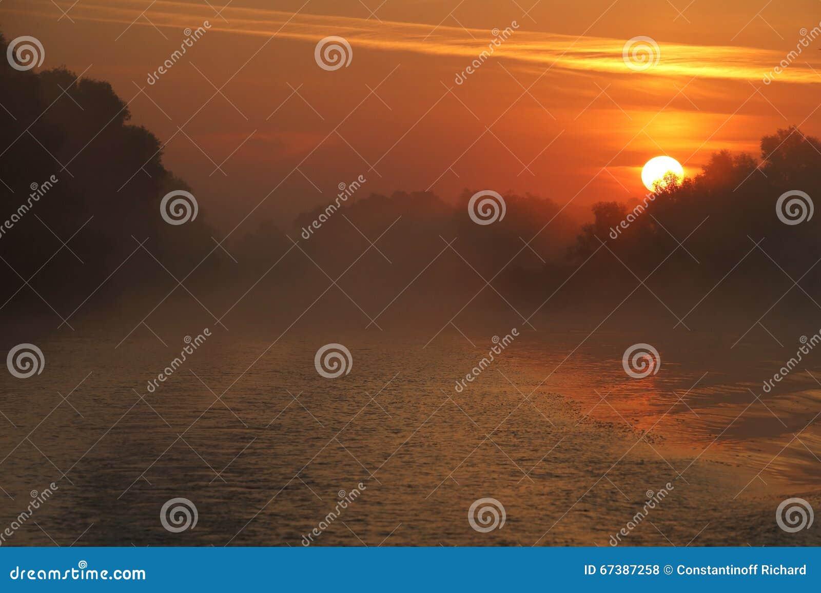 Beautiful sunrise in the Danube Delta