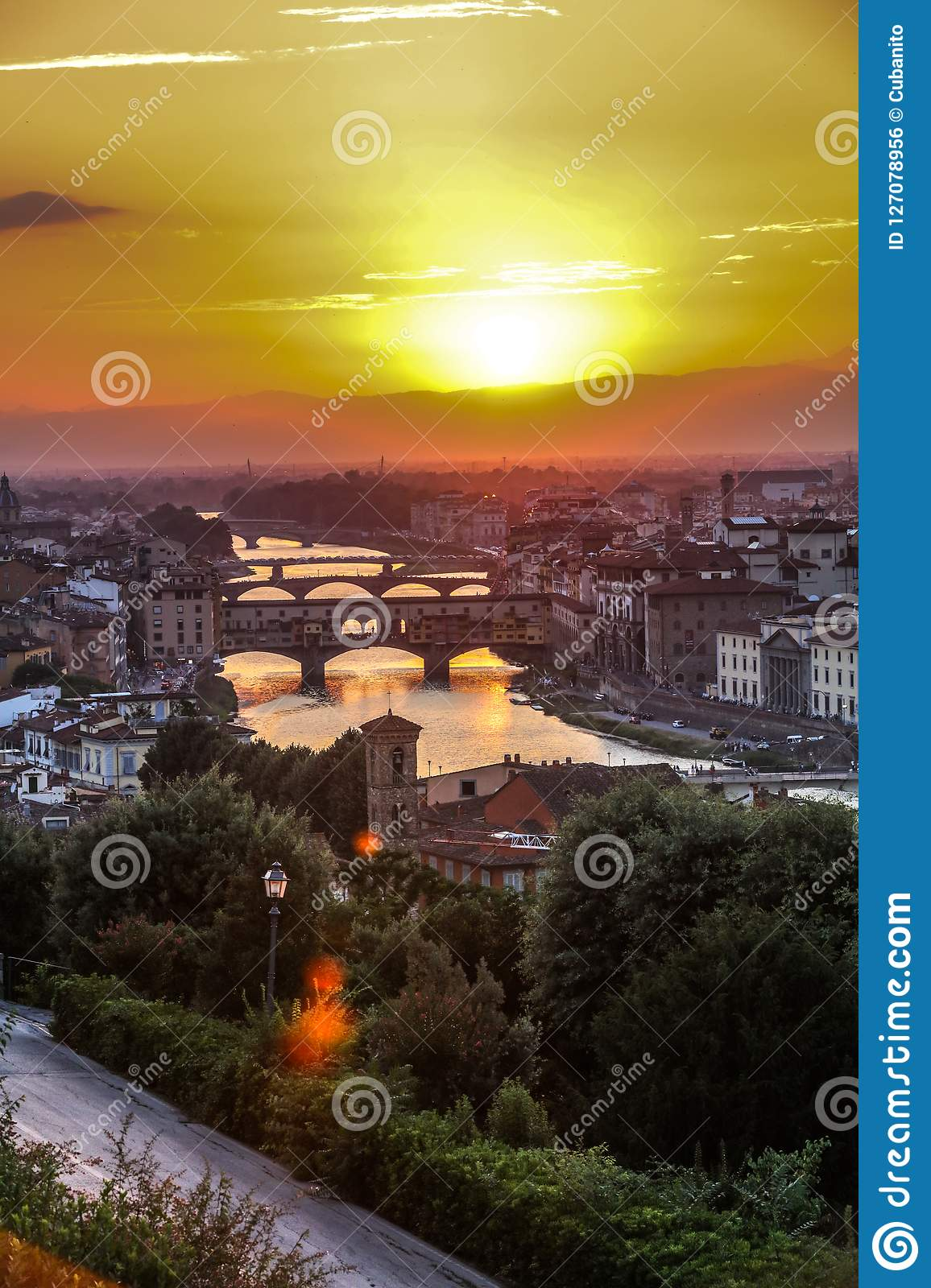 Beautiful sunset in Florence, Italy.