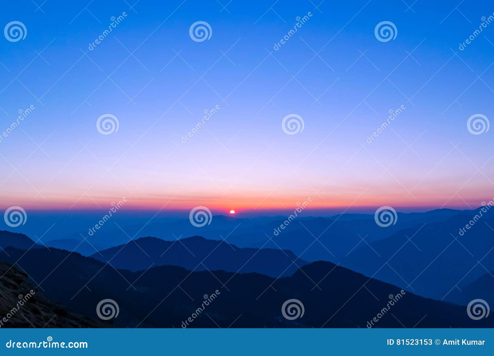 Beautiful sunset in Himalayas