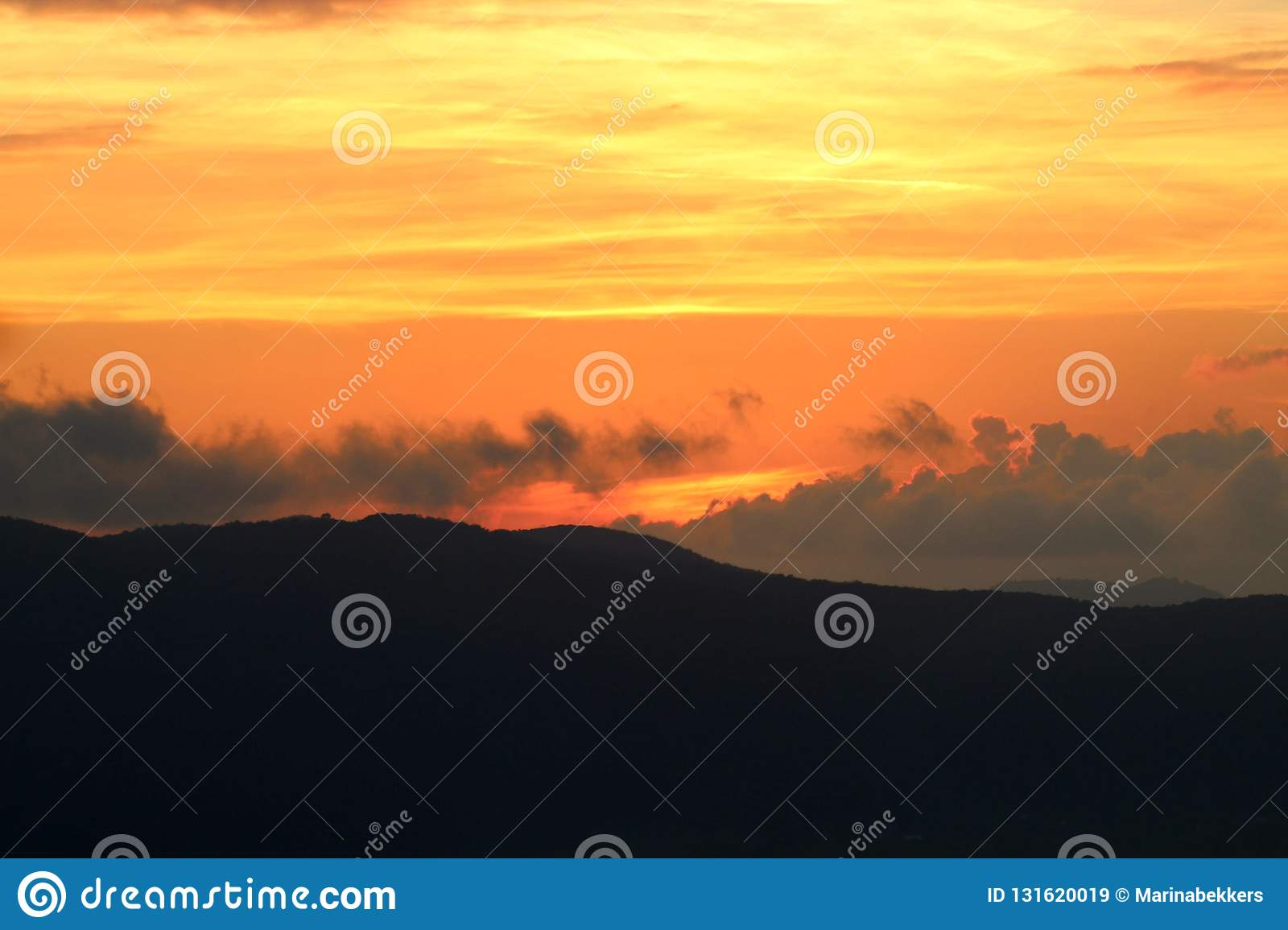 The beautiful sunset in the mountains