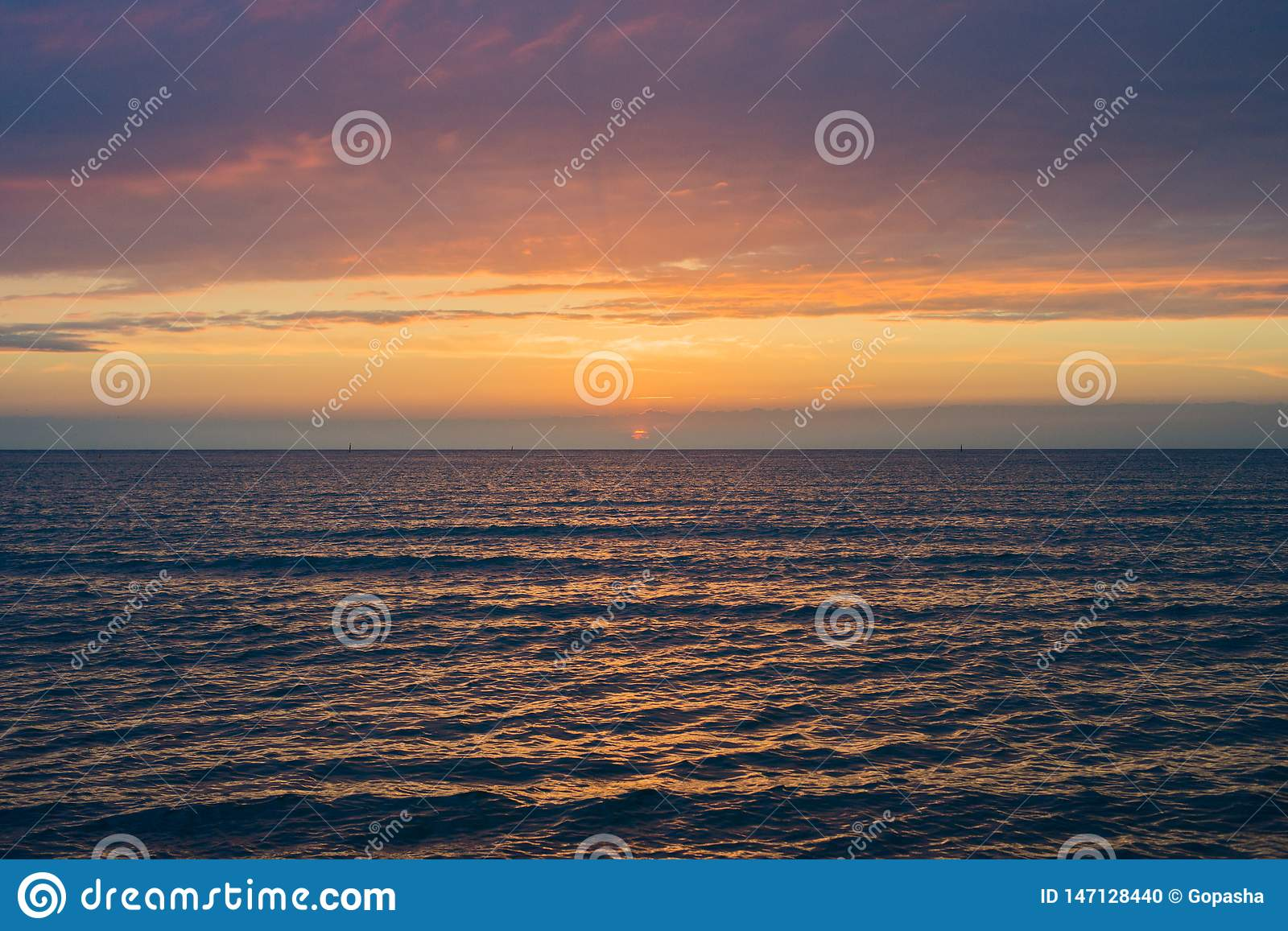 Beautiful sunset over the sea. Anapa, Krasnodar region, Russia
