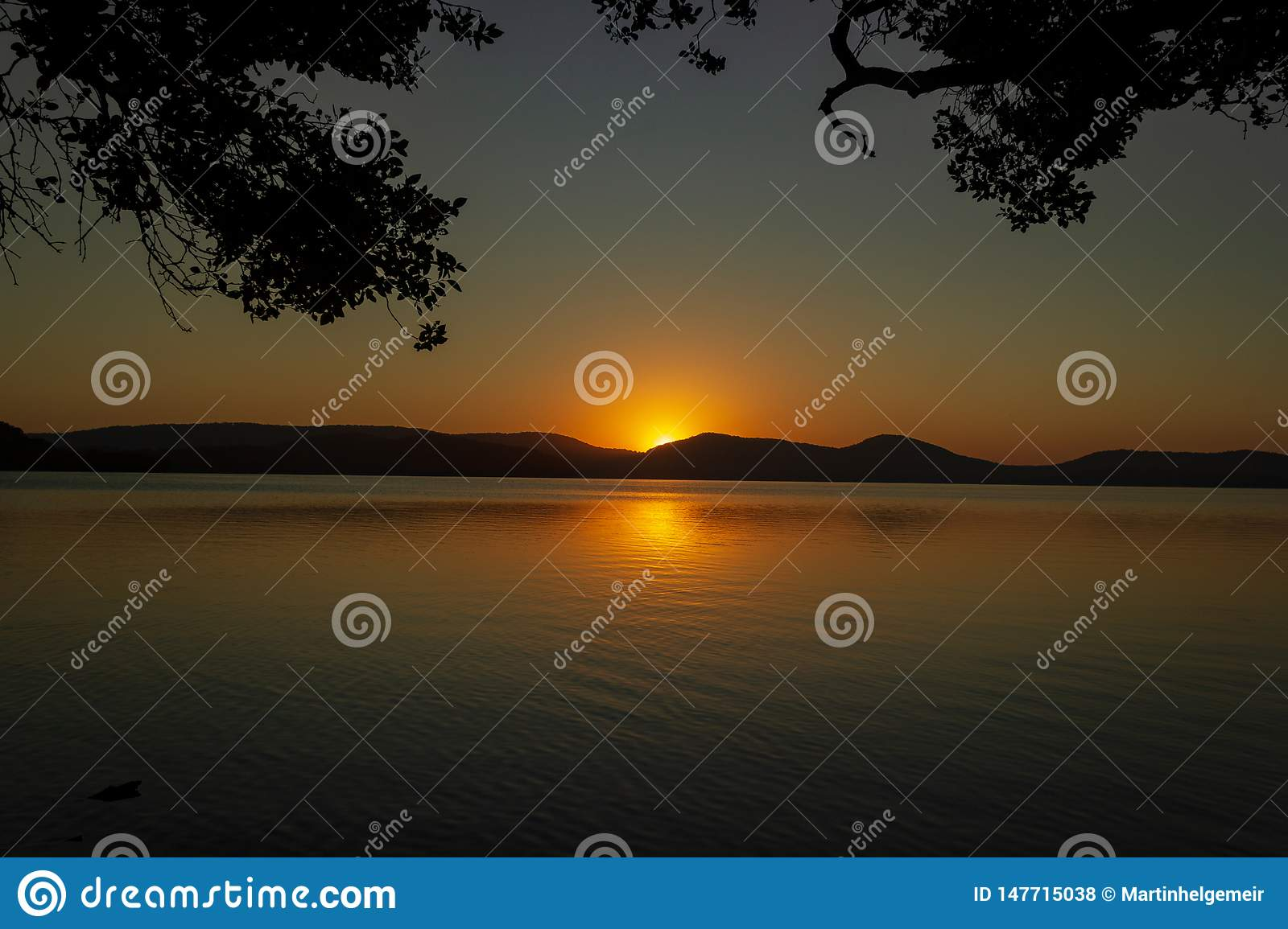 beautiful sunset over Watson Taylors Lake in Crowdy Bay National Park, New South Wales, Australia