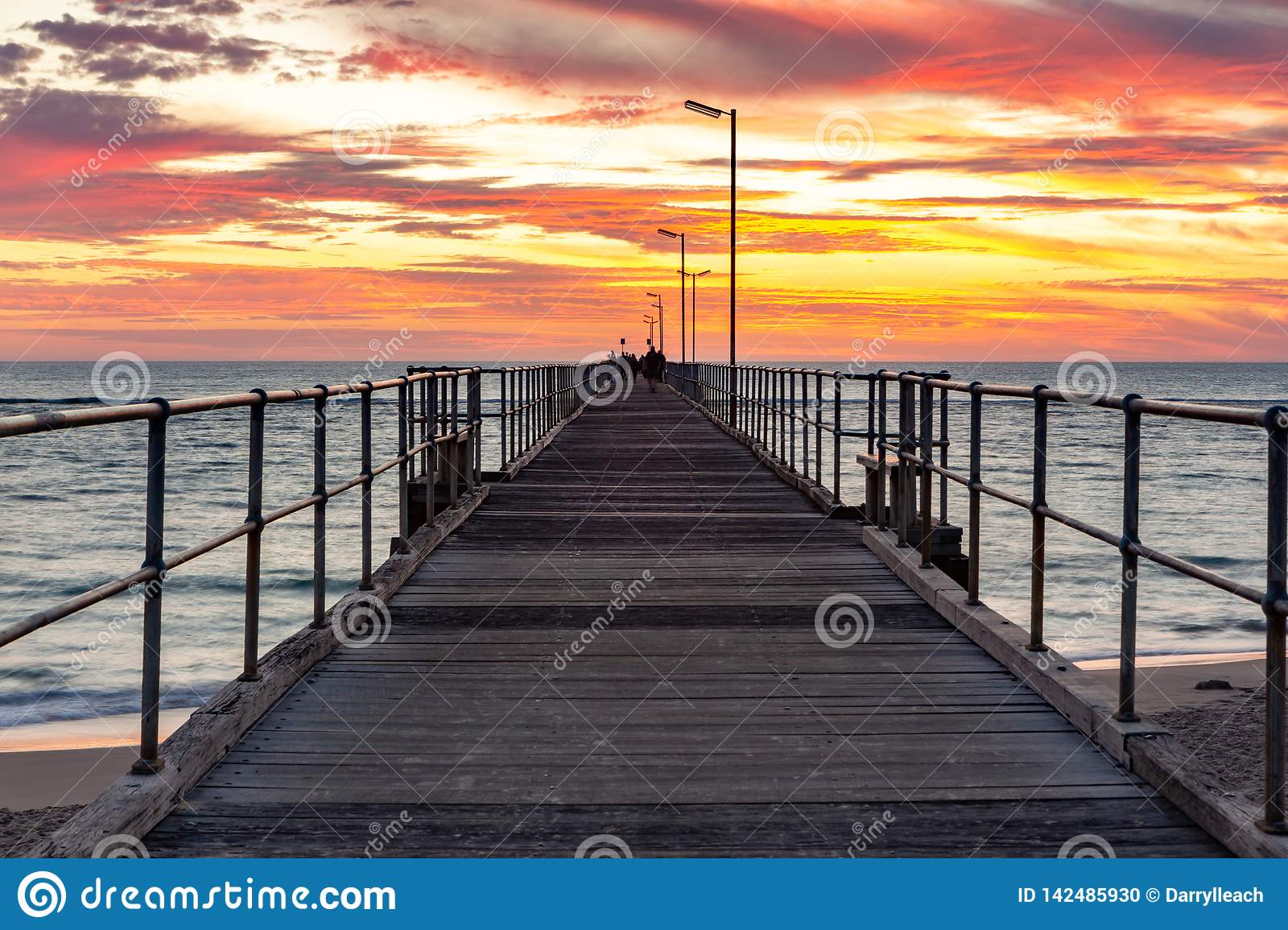 A beautiful sunset at Port Noarlunga on the jetty at Port Noarlunga South Australia on 18th March 2019