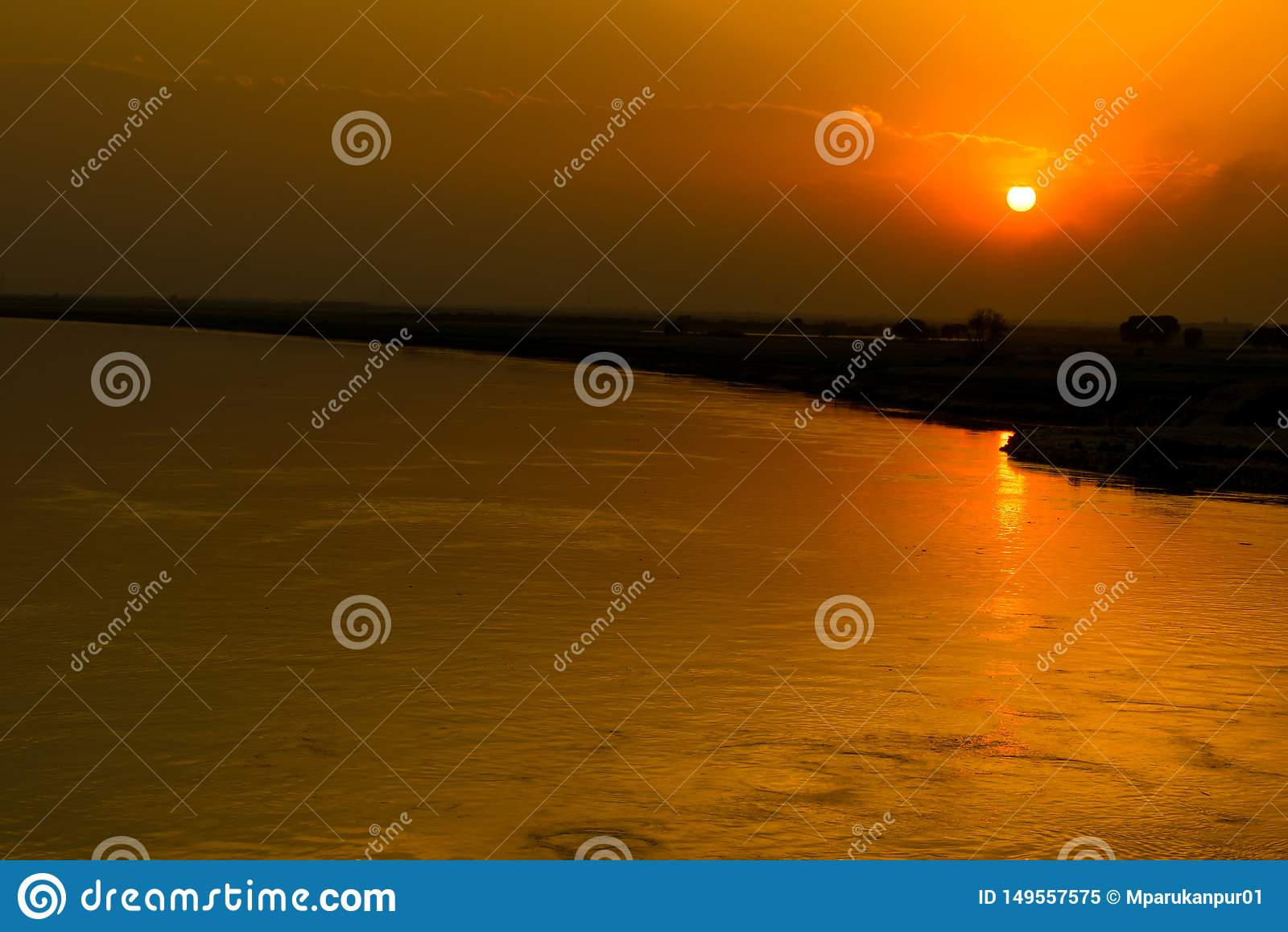 Beautiful sunset on river indus pakistan