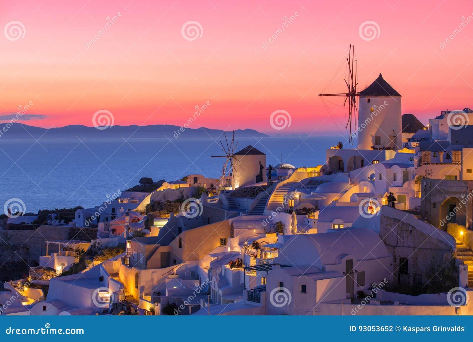 Beautiful sunset in Santorini, Greece