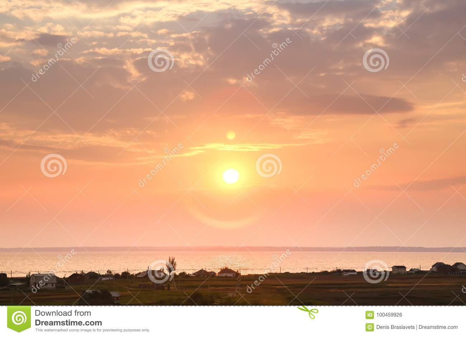 Beautiful sunset on the sea at twilight times Vintage Filter