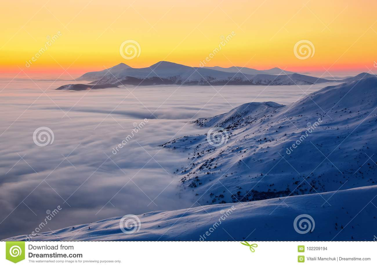 Beautiful sunset shine enlightens the picturesque landscapes with fair trees covered with snow and high mountains.