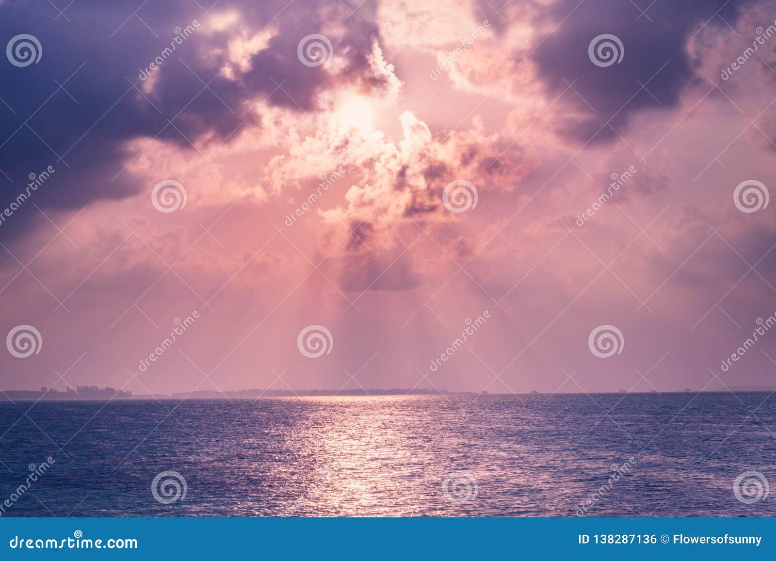 Beautiful Sunset Sunrise Sea And Sky, Sun Rays And Tranquil