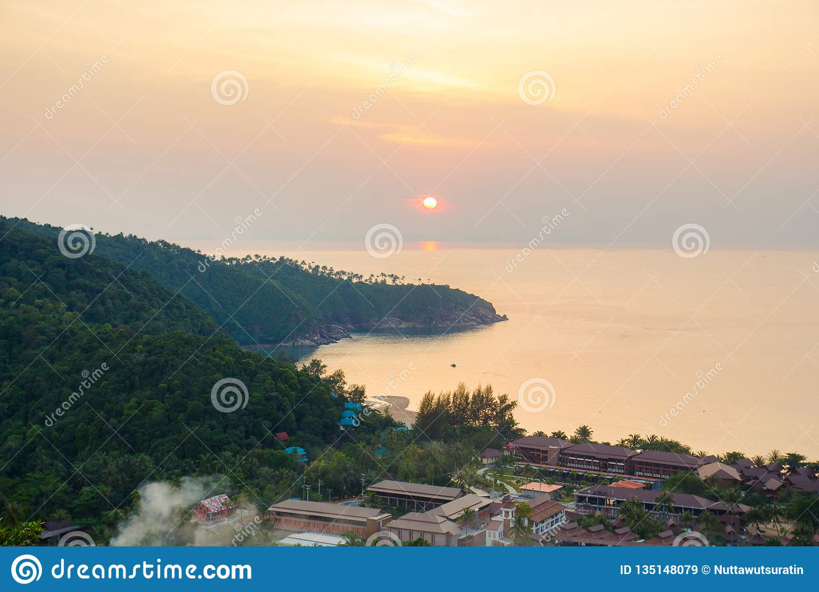 Beautiful sunset on tropical island Koh Phangan in Thailand.