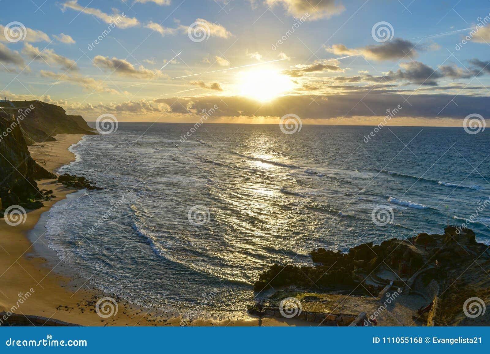 Sunset At Santa Cruz Portugal Stock Photo Image Of Azul