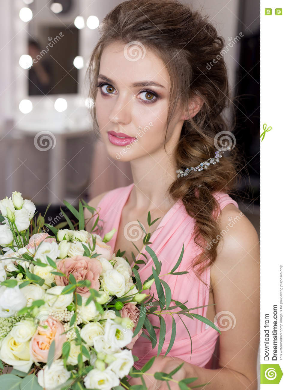 Beautiful Sweet Girl Bridesmaid Preparing For The Wedding Of A