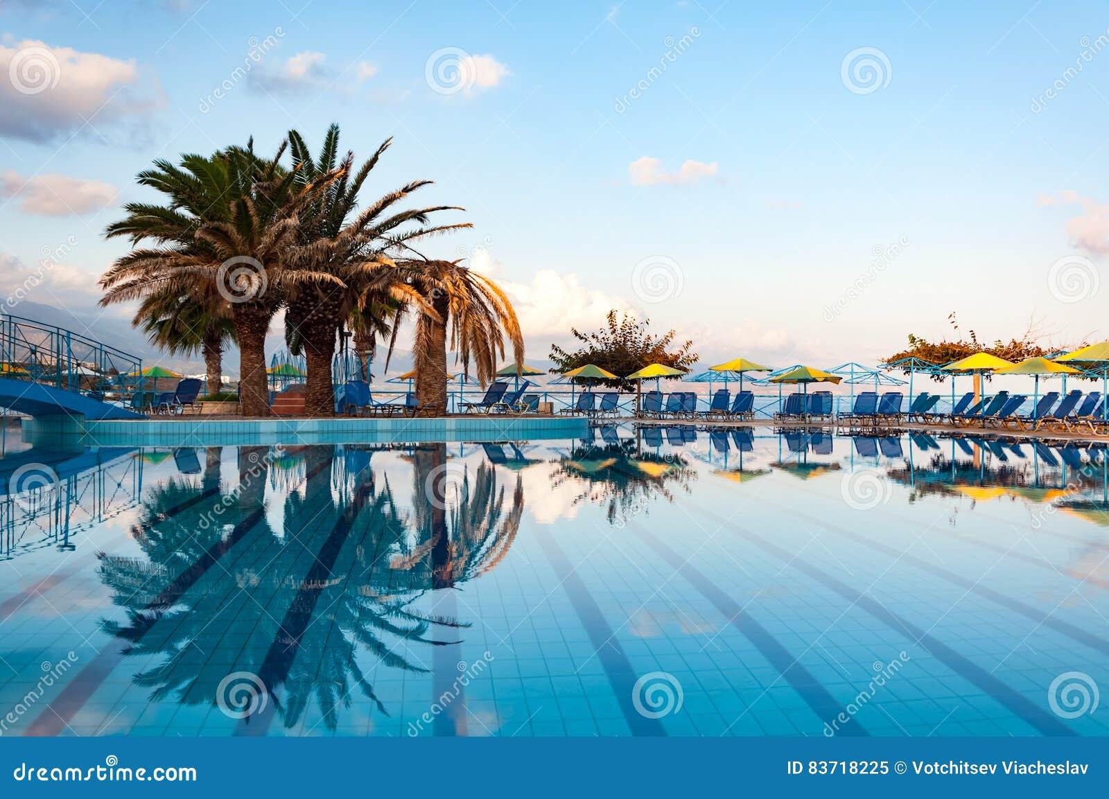 Beautiful Swimming Pool On Shore Of Sea Stock Photo
