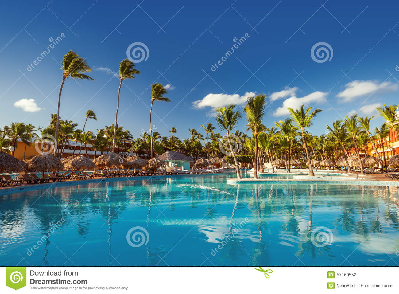 Beautiful swimming pool in tropical resort punta cana for Pool time pools