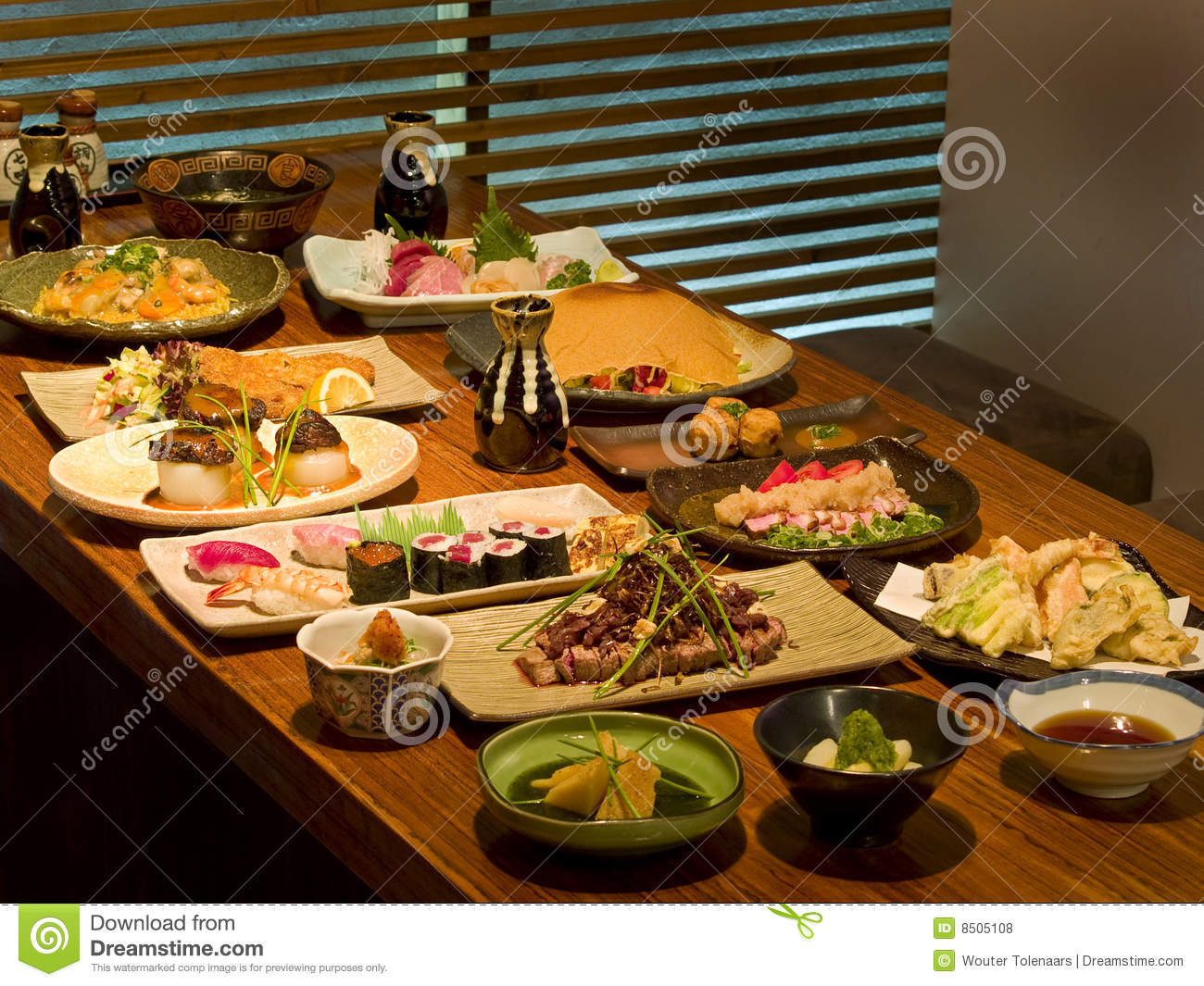 beautiful table of japanese food stock photo image 8505108. Black Bedroom Furniture Sets. Home Design Ideas