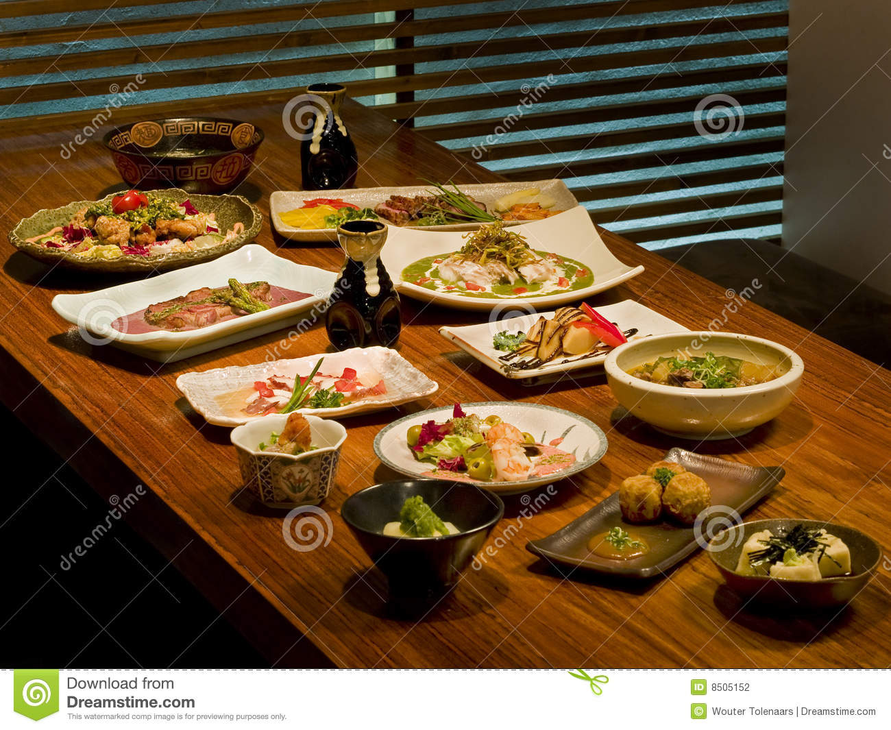 beautiful table of japanese food stock photography image 8505152. Black Bedroom Furniture Sets. Home Design Ideas