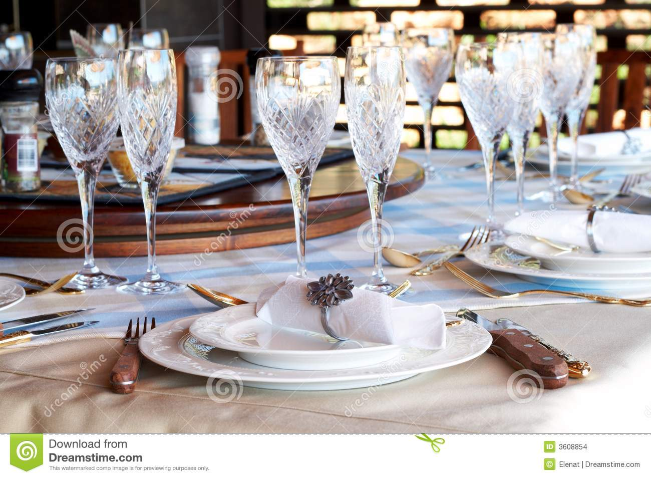 Beautiful Table Setting With Crystal Glasses Stock Images