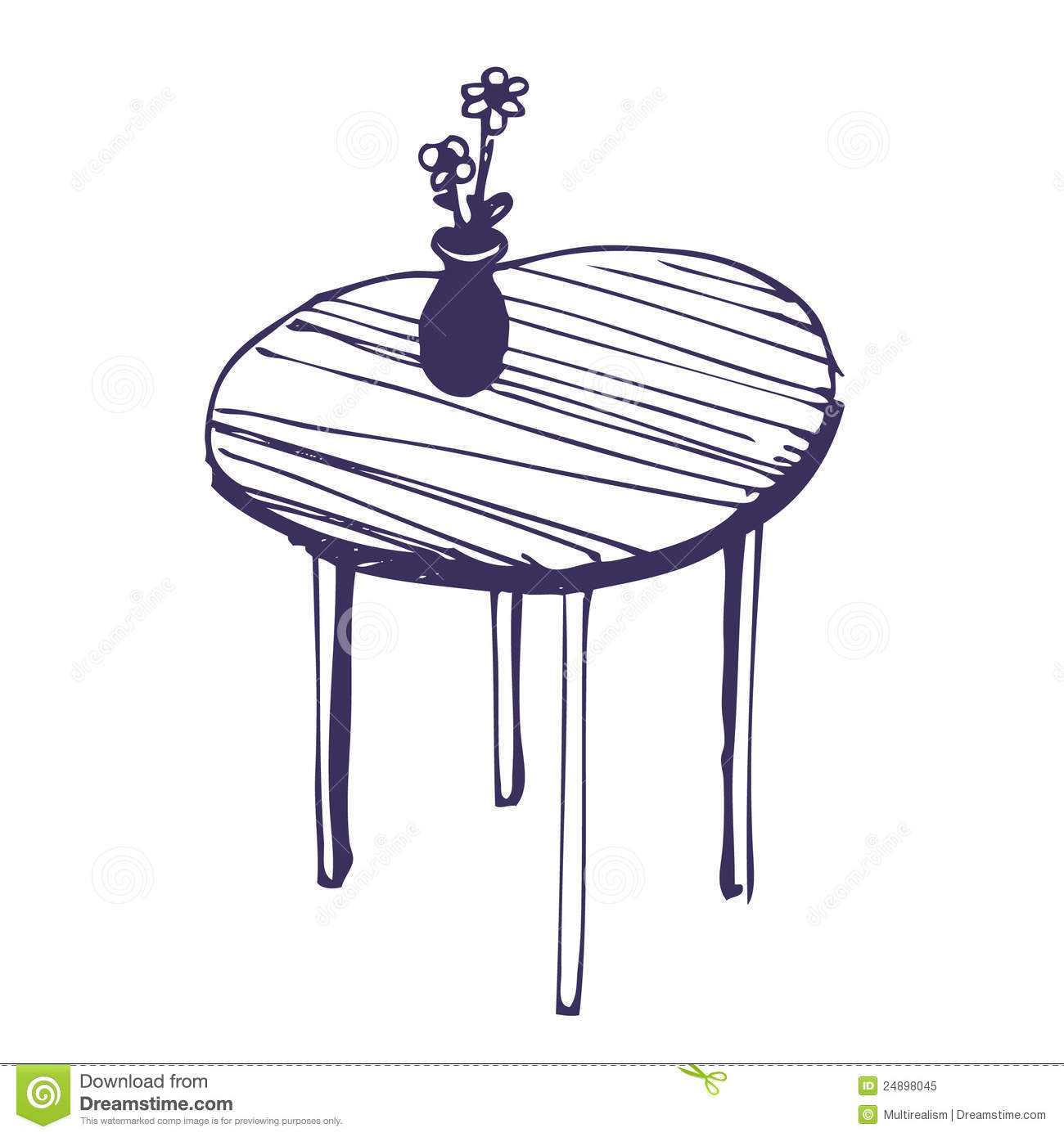 Beautiful table and vase with flowers royalty free stock for Table 3d dessin