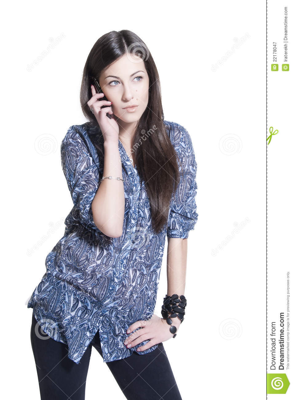 Beautiful Tall Brunette Talking Phone Royalty Free Stock Photography ...