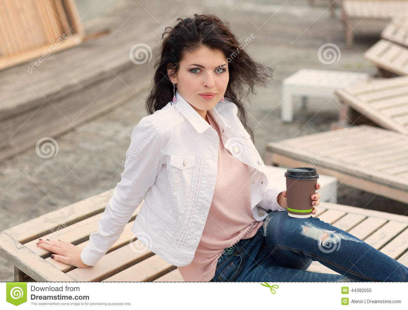 Beautiful Tall Girl With Long Hair Brunette In Jeans Standing On Old ...