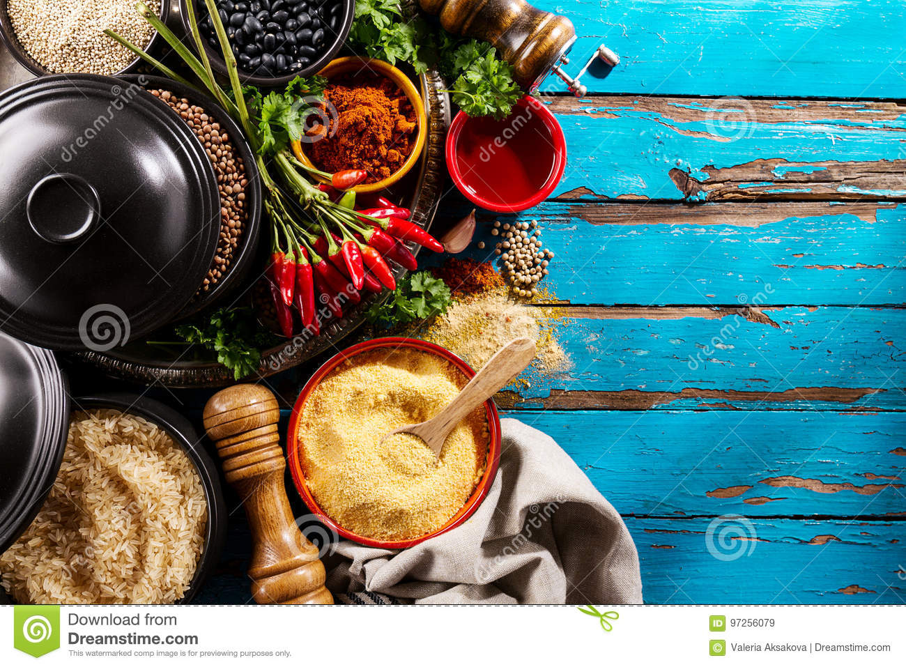Beautiful Tasty Appetizing Ingredients Spices Grocery For Cookin ...