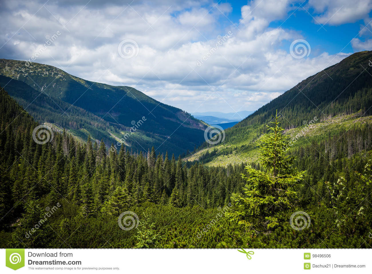 A beautiful Tatry mountain landscape in a sunny day