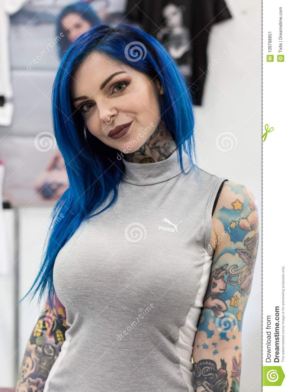 Beautiful Tattoed Girl At Milan Tattoo Convention 2018 Italy Editorial Photo Image Of Culture Artist 109788851