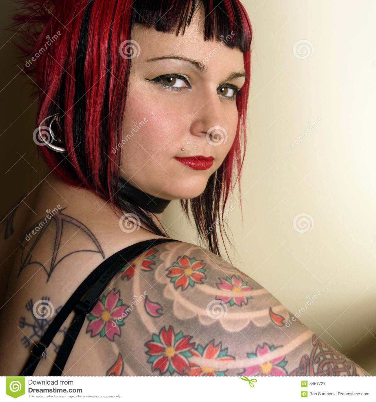 Tattoo Gothic Woman: Beautiful Tattoo Goth Girl Stock Image. Image Of Pretty