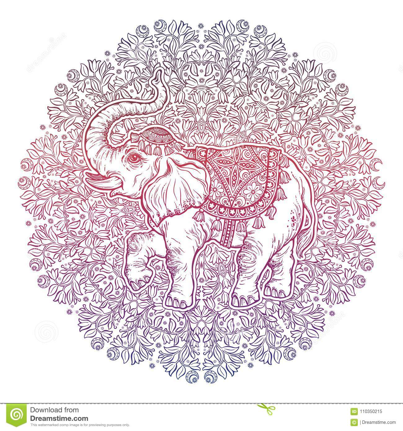 Beautiful Tattoo Tribal Style Elephant On Mandala Stock Vector