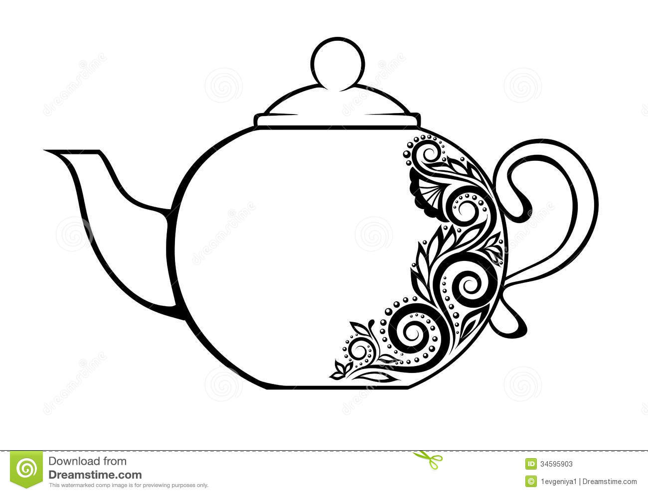 Beautiful Teapot, Decorated With Black And White F Stock ...