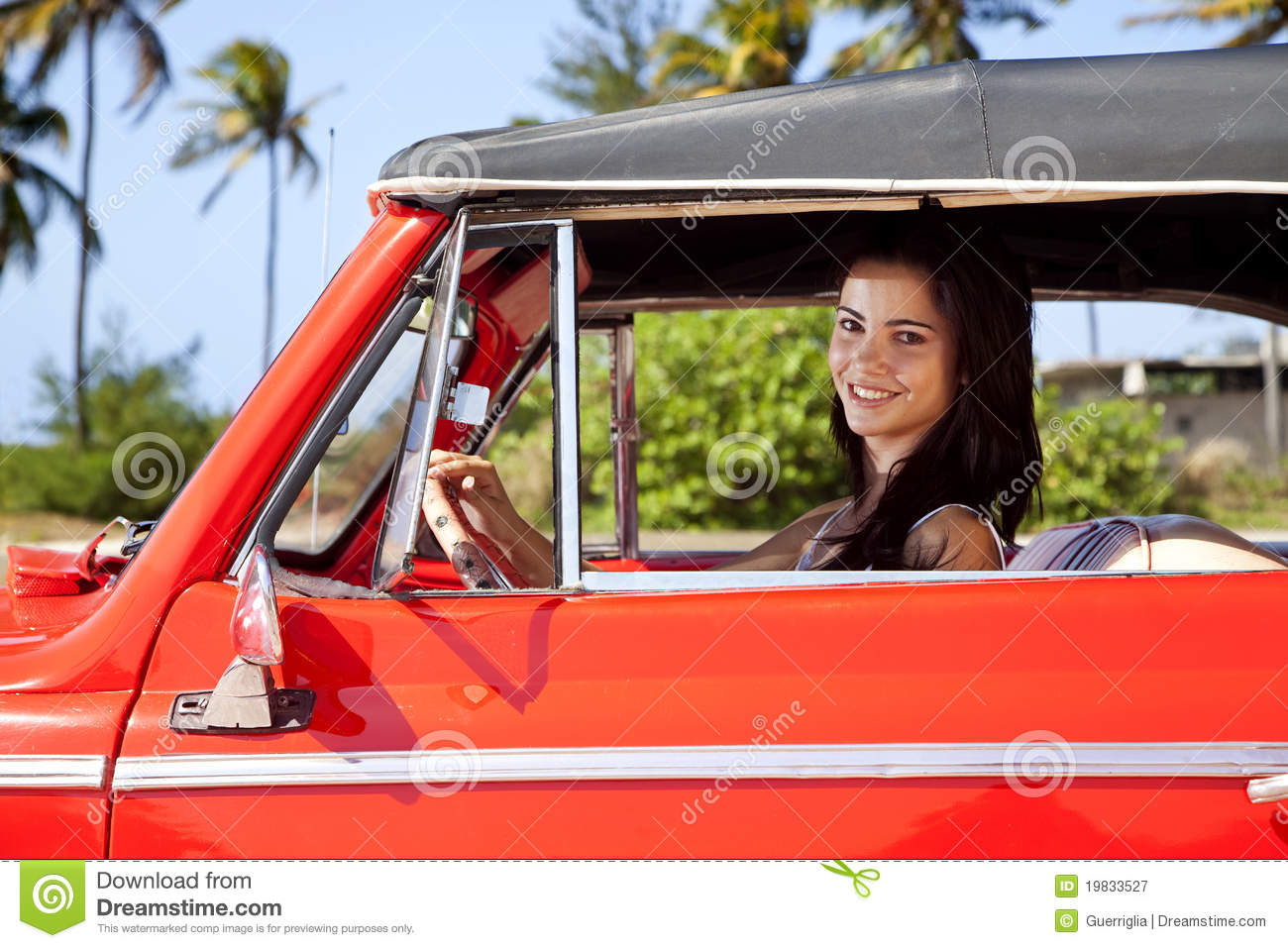 Teen Driving App >> Beautiful Teen Driving Old Car And Smiling Royalty Free ...