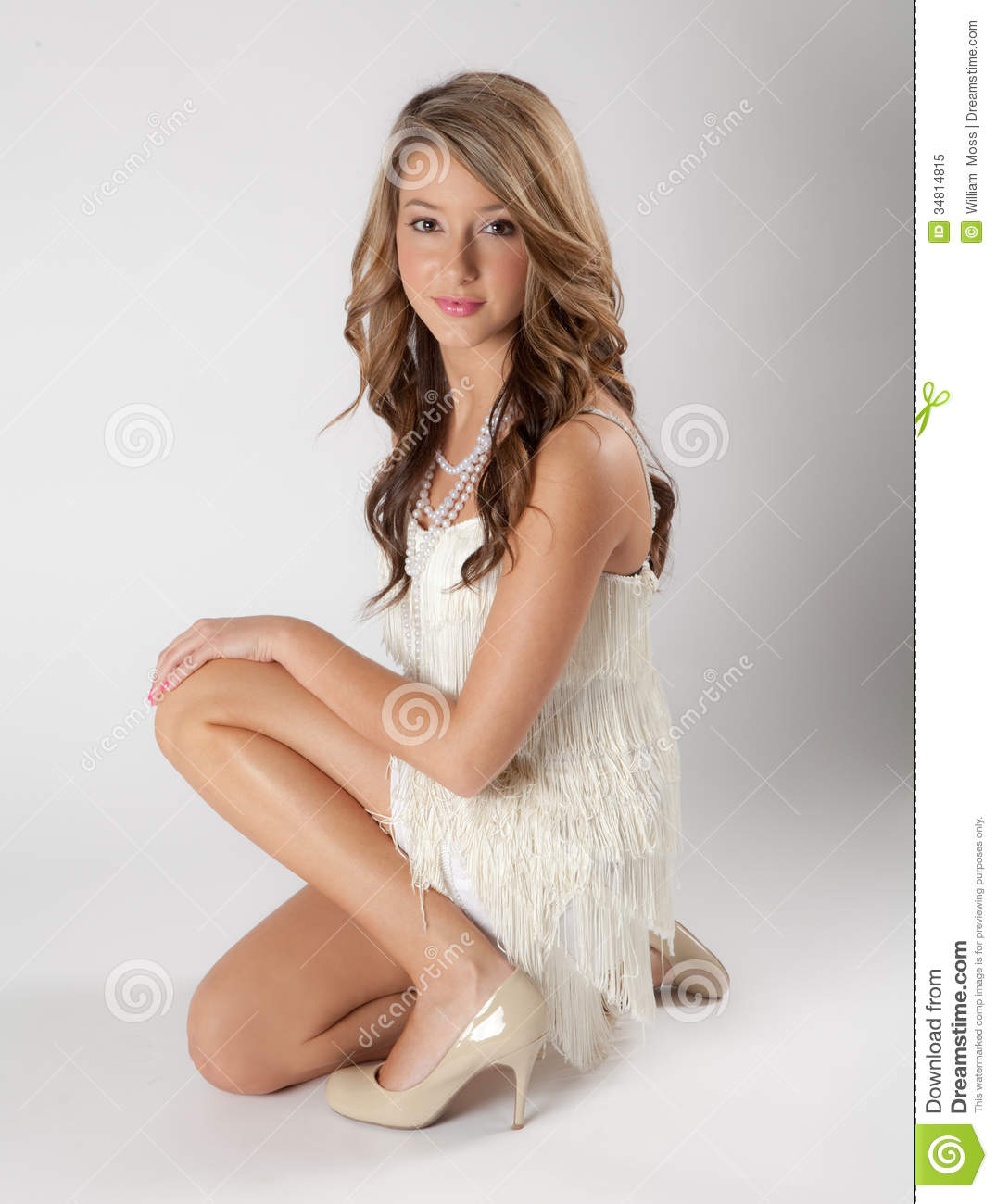 Beautiful Teen In Flapper Dress Royalty Free Stock Photo