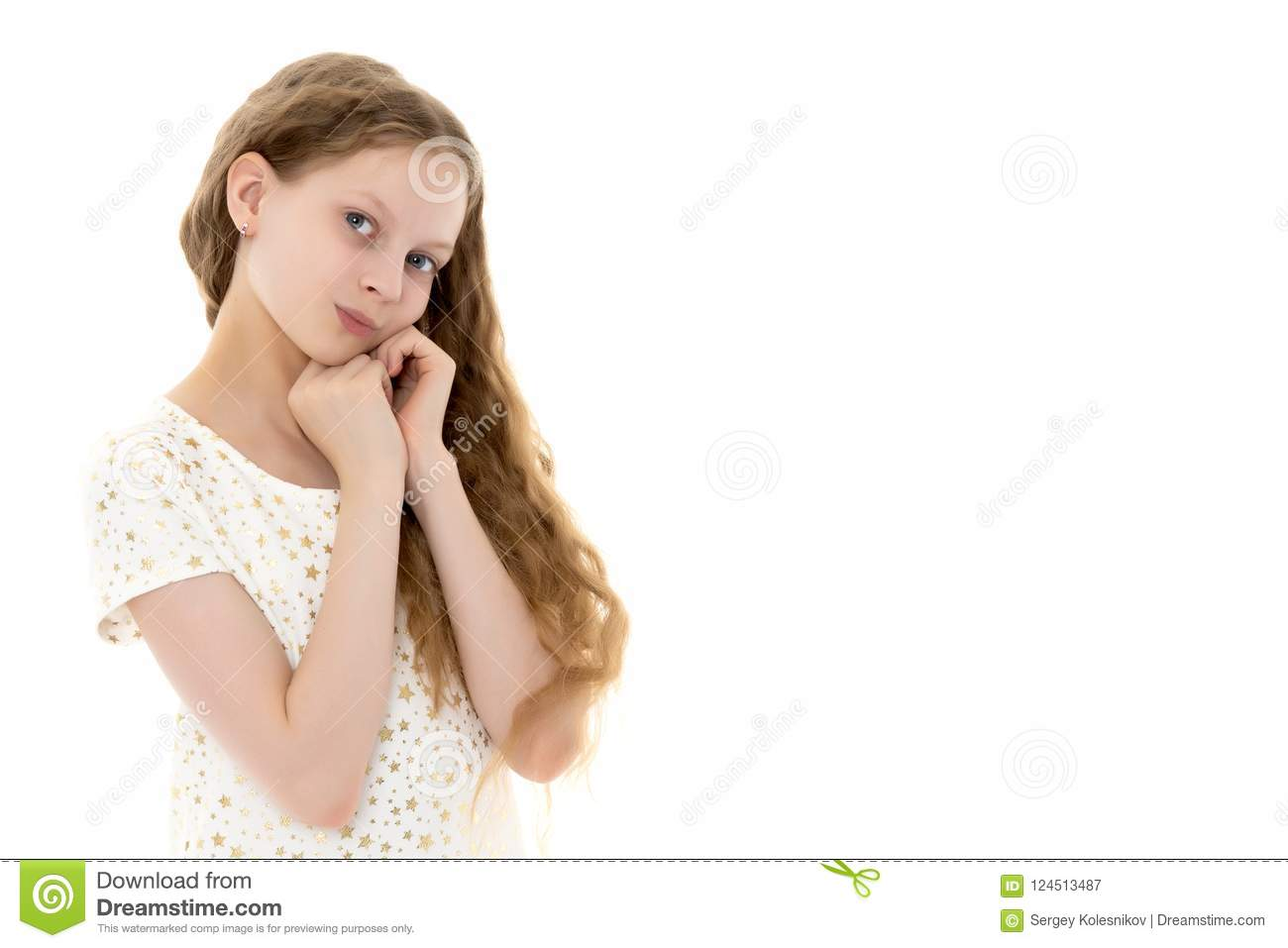 A Teenage Girl In A Short Dress. Stock Image - Image of computer ... 80a20195d97d