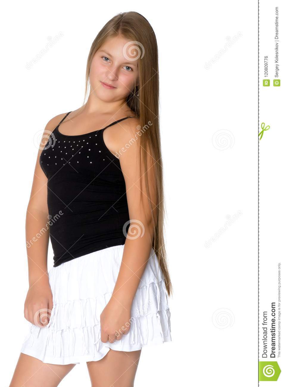 A Teenage Girl In A Short Dress. Stock Photo - Image of lifestyle ... 69e9e7ab6767