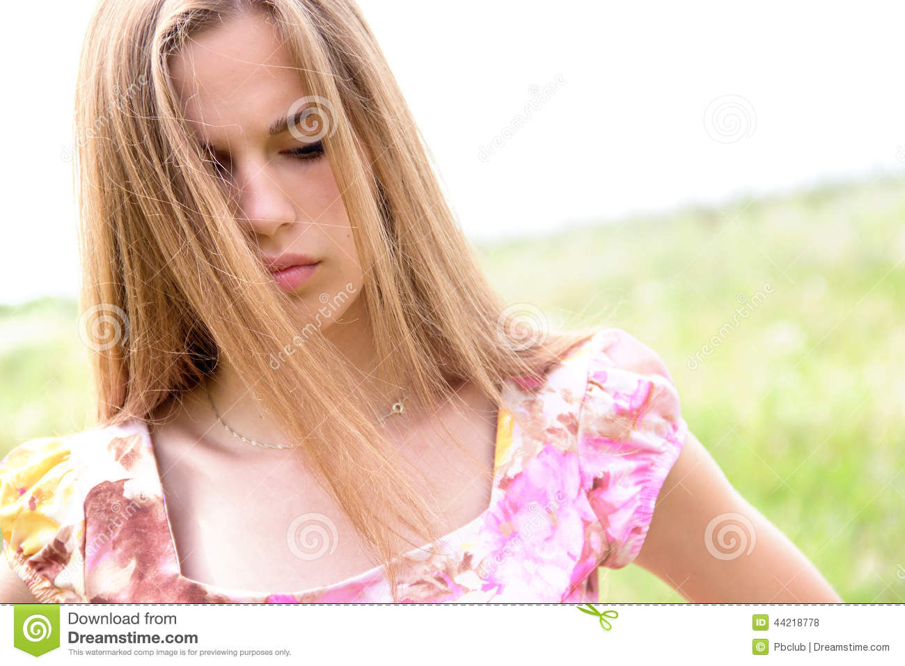 Beautiful teen girl with concerned expression stock photo for Teenage beautiful girls