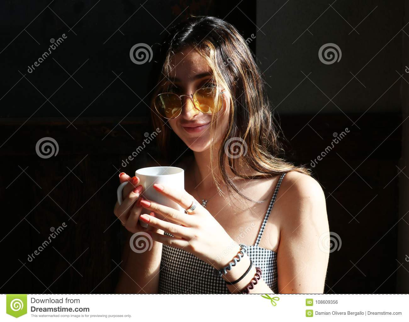 Beautiful Teen Girl Enjoying A Cup Of Hot Coffee Stock Photo Image Of Cafe Brunette 108609356