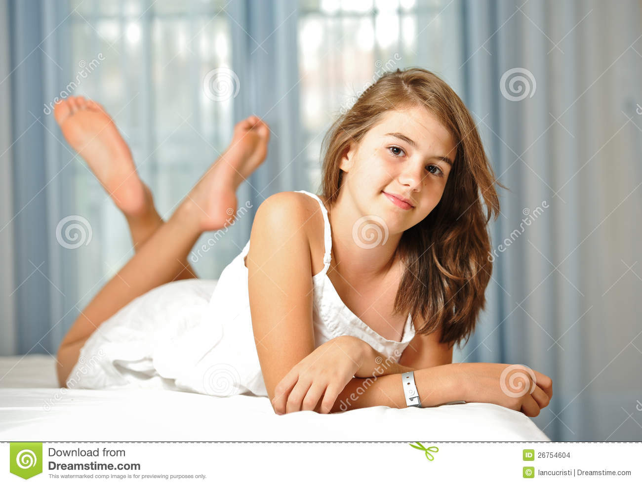 Beautiful teen girl at home in white dress stock images for Home teen pics