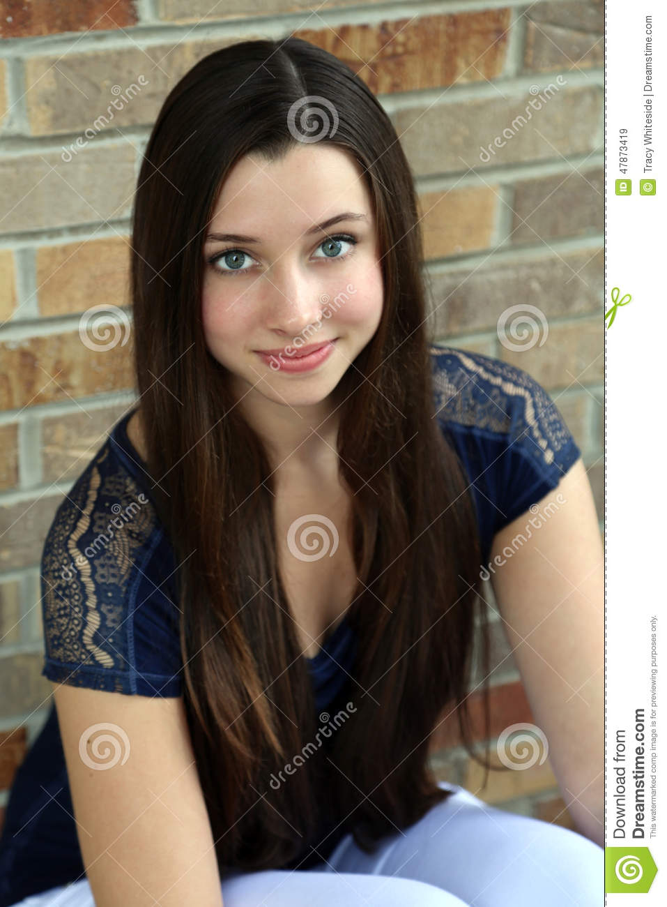Beautiful Teen Girl With Long Hair Stock Photo