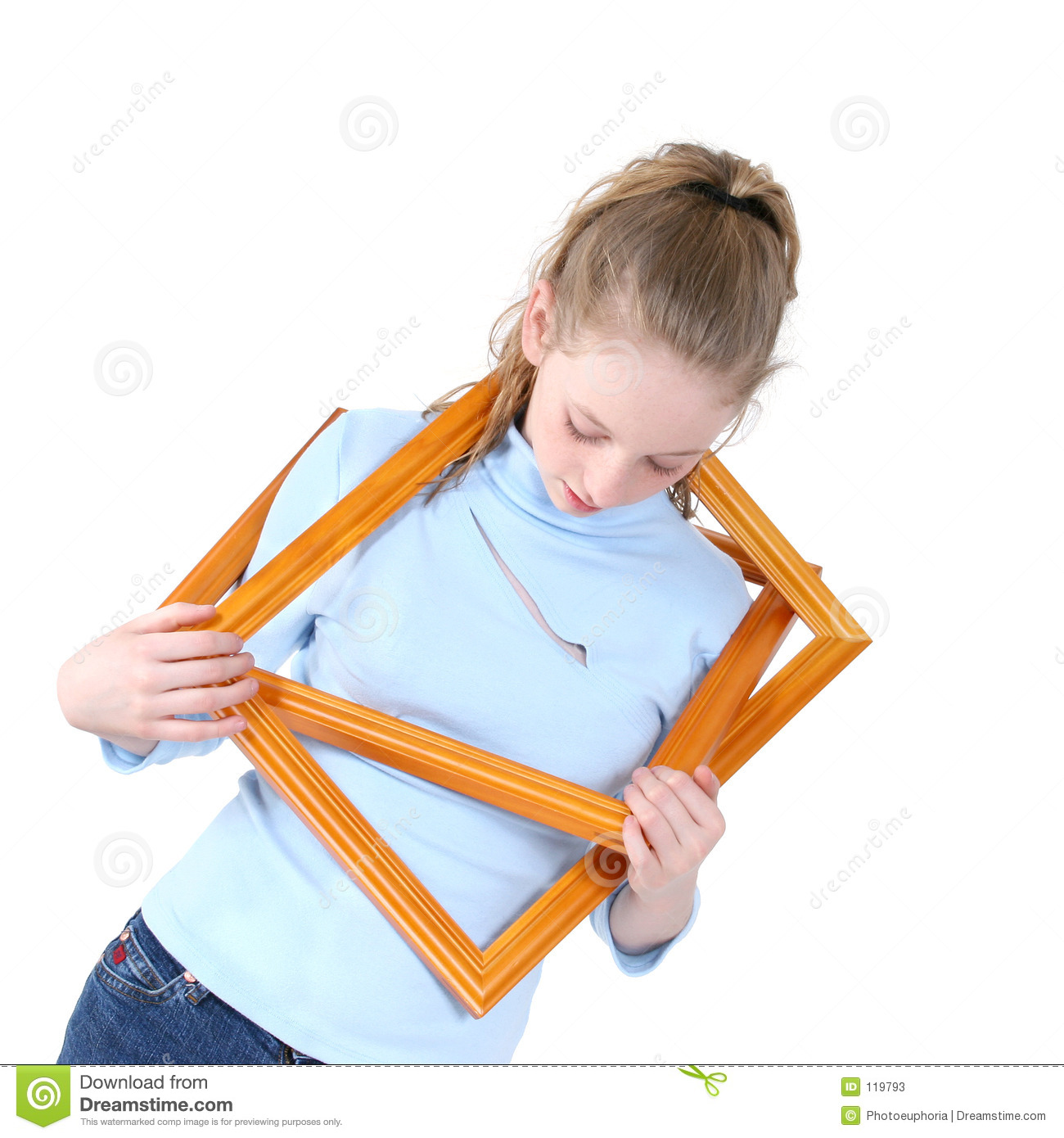 Beautiful Teen Girl Playing With Empty Picture Frames Over White