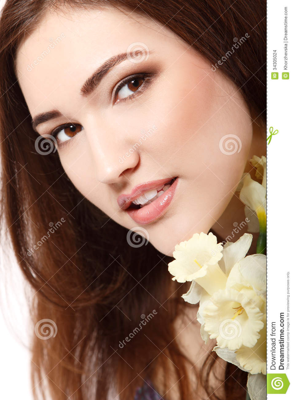 Beautiful Teen Girl Smiling And With Flower Narcissus And