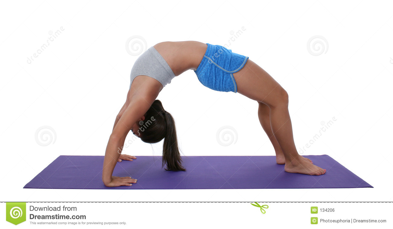 Beautiful Teen Girl In Workout Clothes Doing Backbend