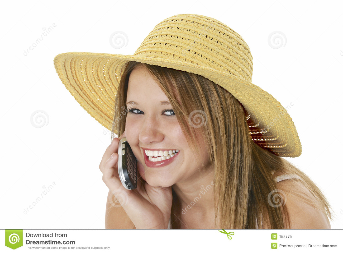 Beautiful Teen In Yellow Hat On Cellphone