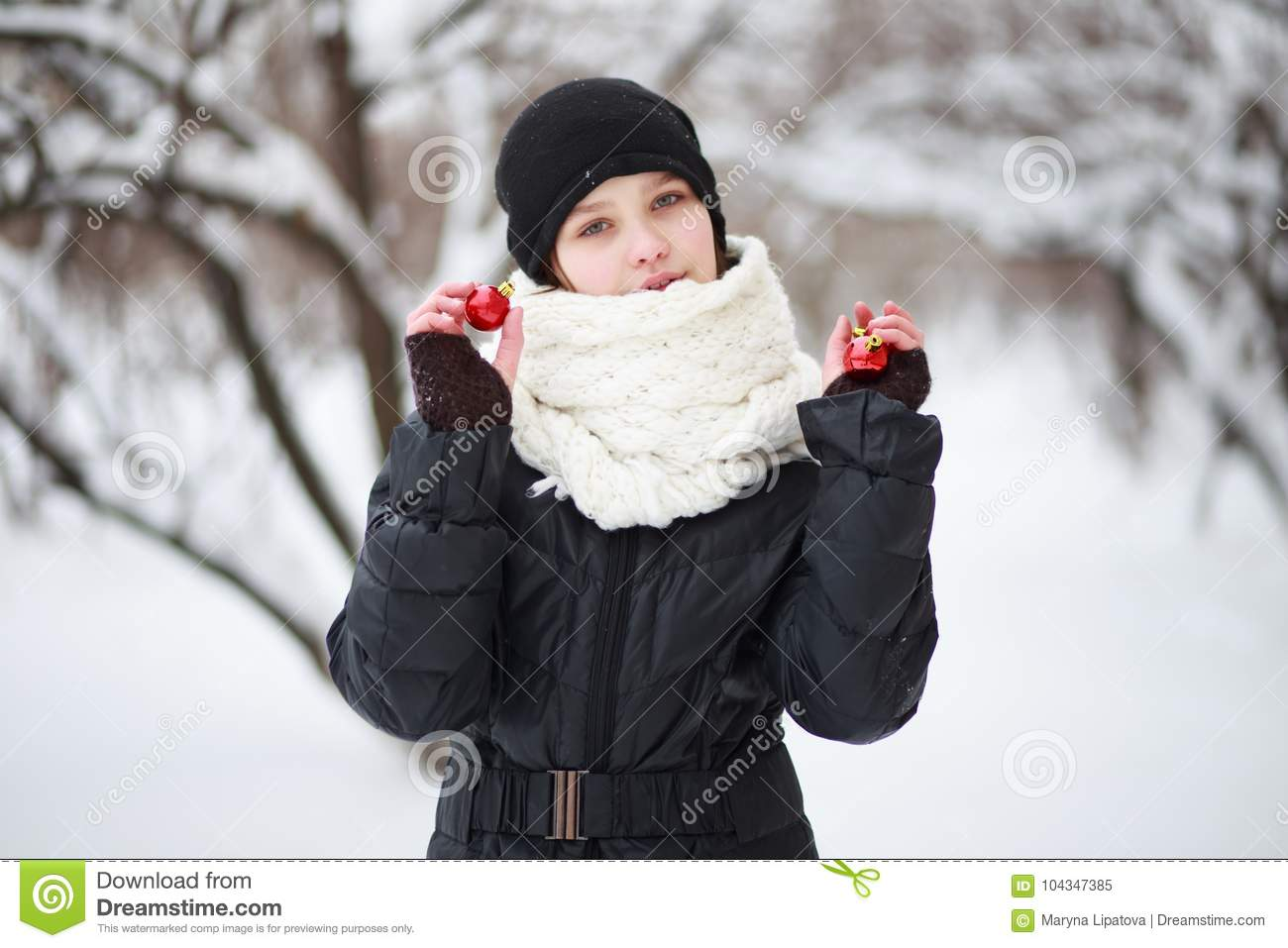 42aad1c5a4938e Child In The Background Of A Snow-covered City. Stock Image - Image ...