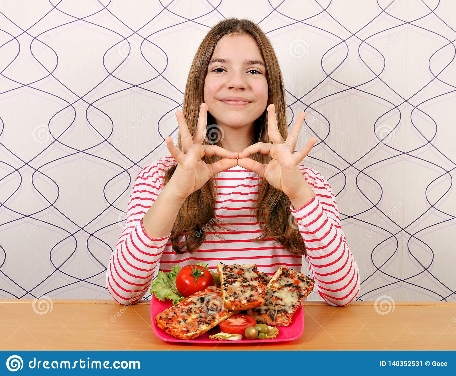 Beautiful Teenage Girl With Sandwich And Ok Hand Signs Stock Image Image Of Salami Healthy 140352531